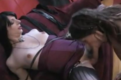 Blindfolded gal Dominated By brunette hair tranny