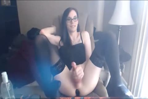 ladyman Cums On Her Own Hair Face And Glasses