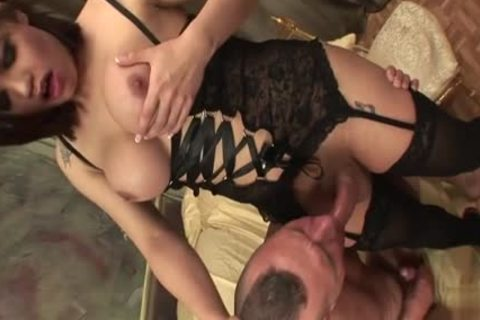 brunette shemale painfully With Facial