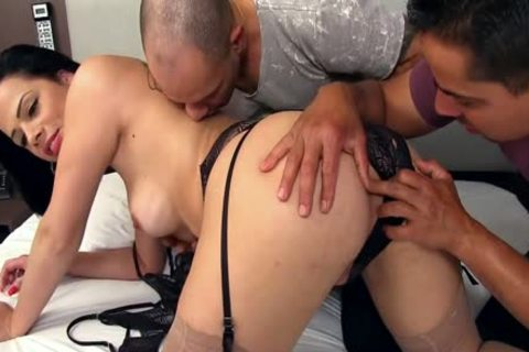 tasty ladyboy Bruna Castro Sucks And bonks Two Delivery males
