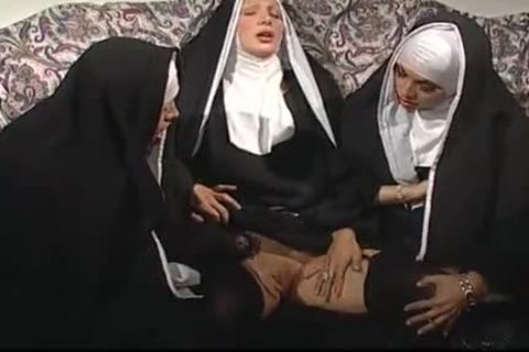 Two Nuns Are Comforting A Sister, But that babe do not Know They're Two concupiscent shemales!