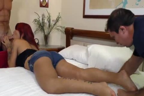 Sex Crazed shemale Nicolly Pantoja Is Double butthole slammed By Two big cocks