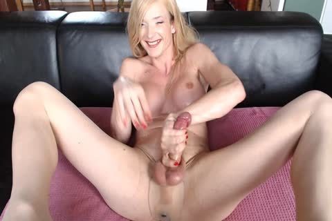 German shemale In pantyhose Edges Hard pecker And Cums A scarcely any Droplets