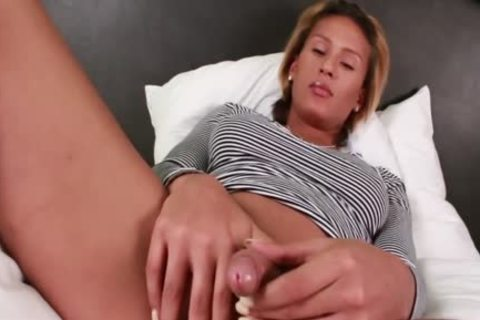nasty ladyboy Jamie Croft Plays With Her large cock