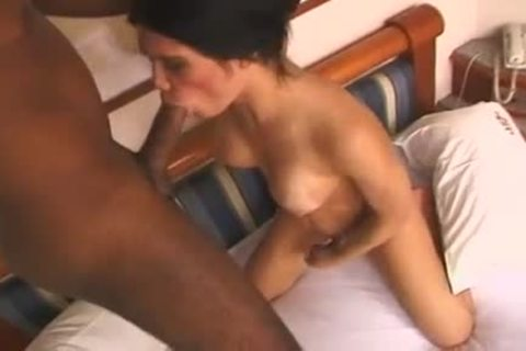 tasty ladyboy Luana Lethuan  With good Jug acquires Her Face And wazoo hammered With large Tool Of Her darksome-skinned paramour