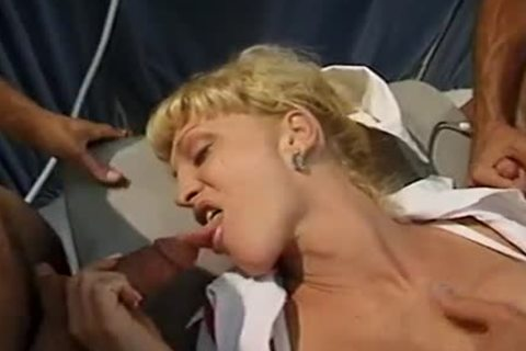 blonde tranny With perfect billibongs Olivia Love  Sucks Two ramrods Then acquires Her ass opening pounded By Two males