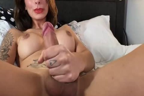 large tits Russian brunette tranny Beauty With Full Tattoos Pulls Off Her dong