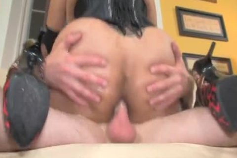 wild sheboy hooker Is Picked And plowed In black Corset