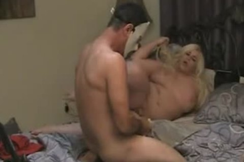 chubby blonde TS plowing In bed